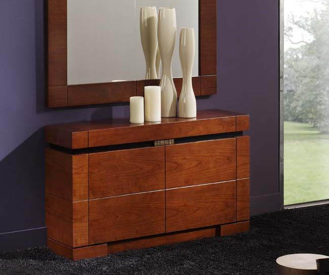 foto muebles zapateros de madera modelo orly cerezo bajo