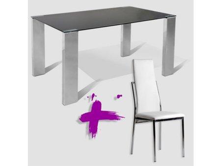 Foto pack de mesa y 4 sillas en polipiel foto 293330 for Akasa muebles