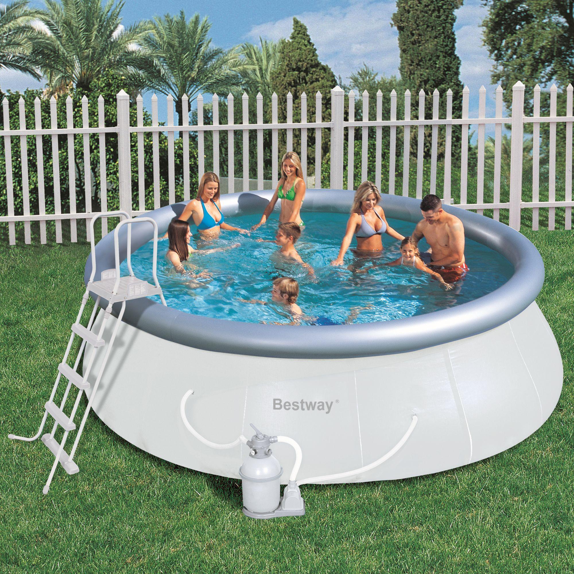 Foto piscina bestway rectangular frame 412x201x122cm con for Piscina hinchable rectangular con depuradora