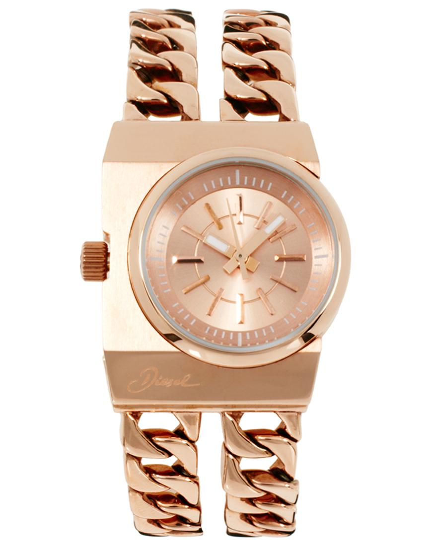 326ecc443d49 Foto Reloj de mujer con doble cadena de Diesel Dorado foto 20339
