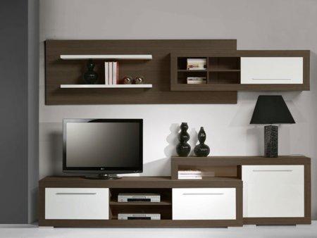 Foto mueble para tv de sal n en blanco alto brillo foto 395738 for Mueble wengue y blanco