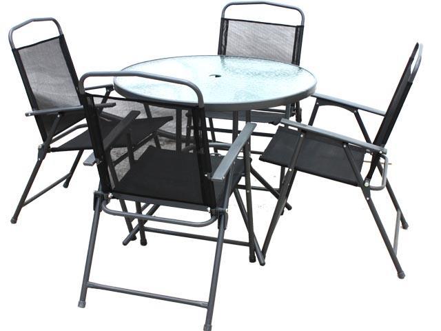 Foto set mesa cristal 4 sillas jardin foto 594550 for Sillas comedor jardin