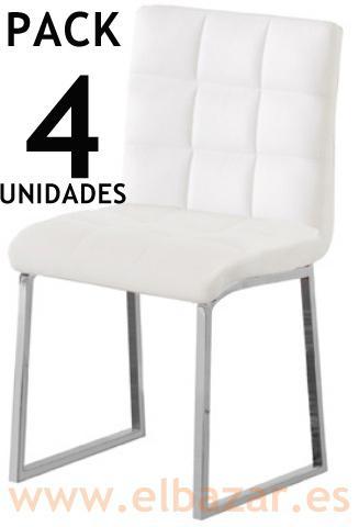 Foto silla comedor olimpo similpiel blanca cromado pack 4u for Pack 4 sillas comedor