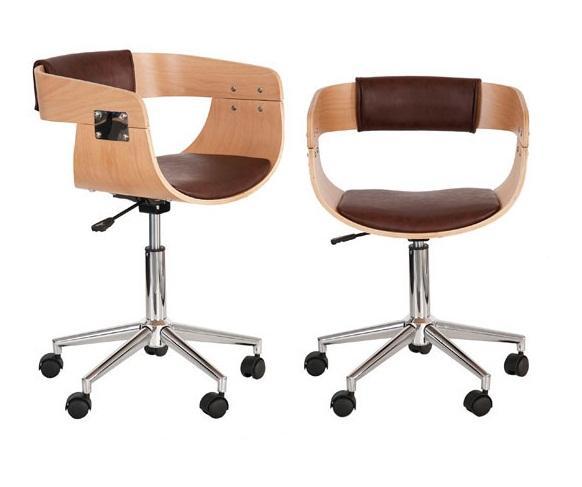 Foto silla escritorio madera laminada piel marron foto 305270 for Sillas para escritorio de madera