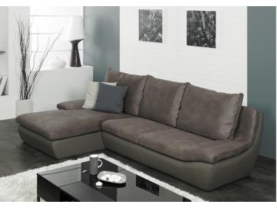 Foto sof rinconero de tela y piel sint tica hyppolite - Sofa piel gris ...
