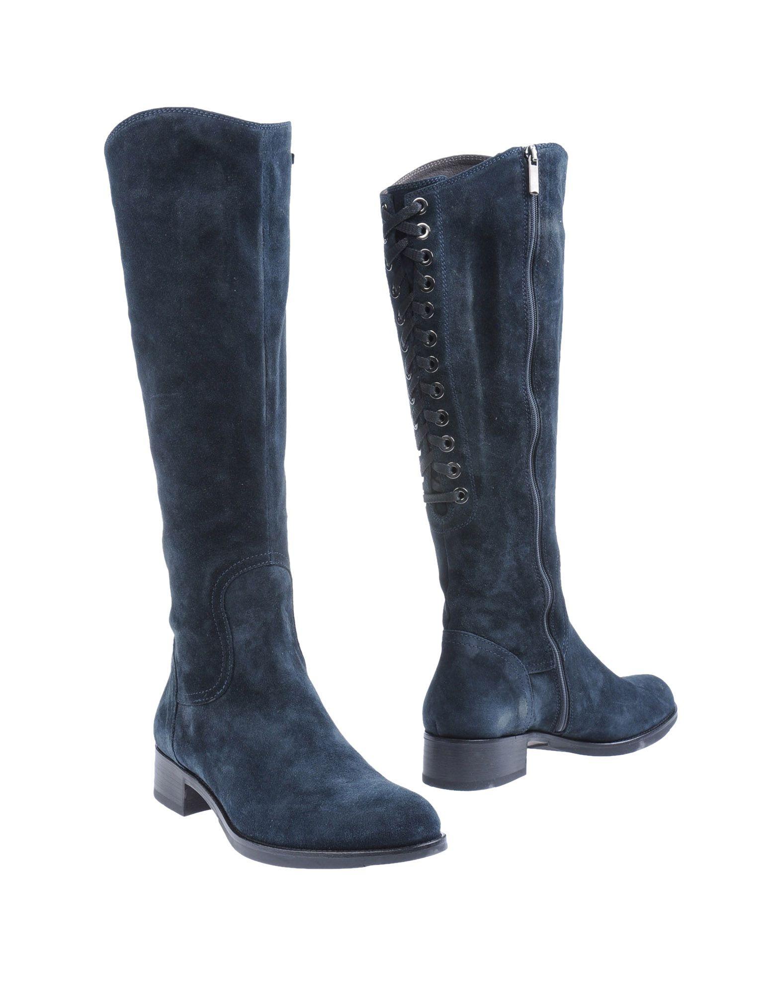 botas altas mujer azul
