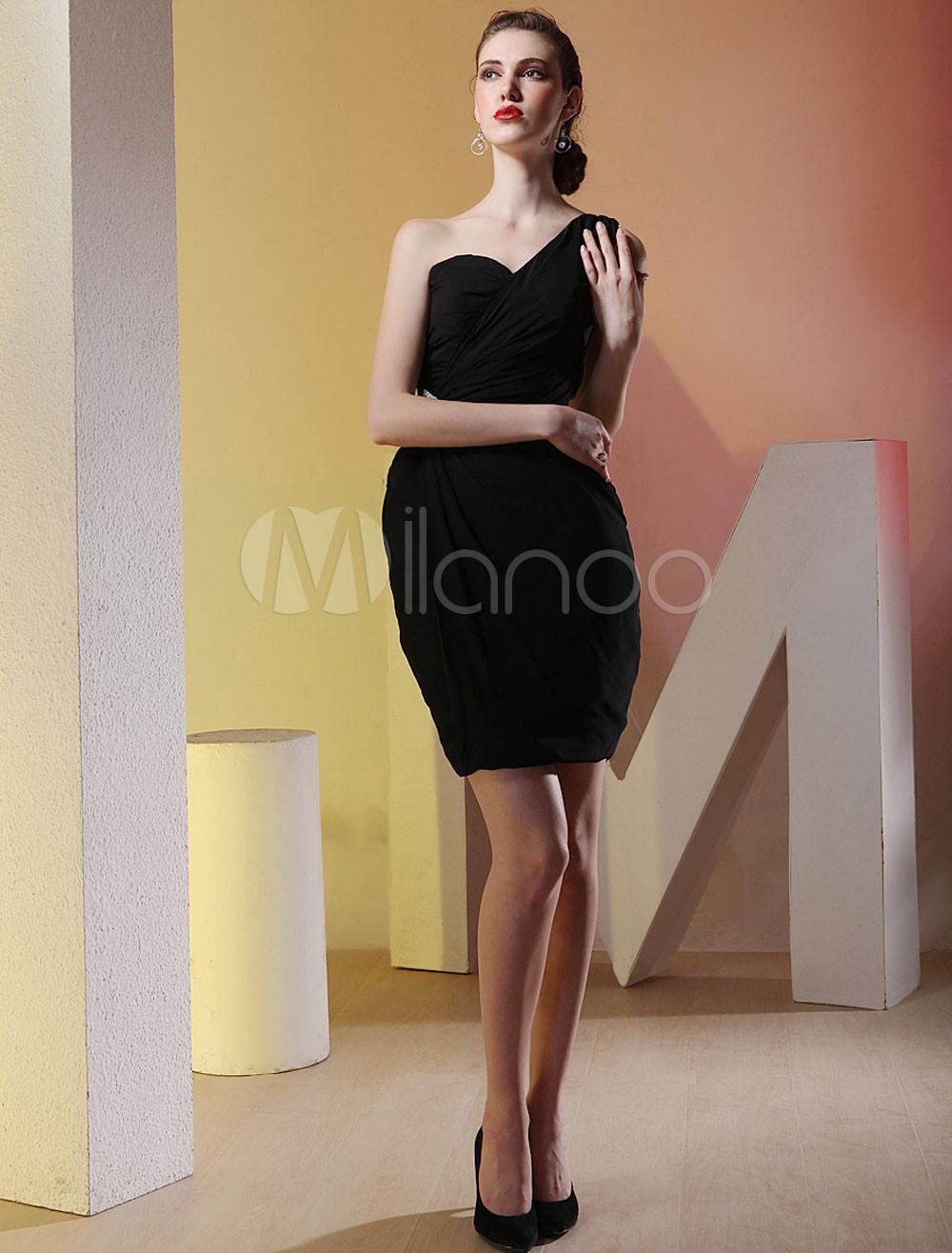 6fa9f1ea5eb Vestido Negro Gasa Corto   Wig Elegance