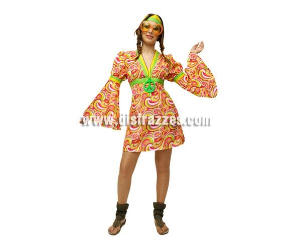 Disfraz barato de hippie para mujer talla standar m l 3842 for Disfraz de hippie