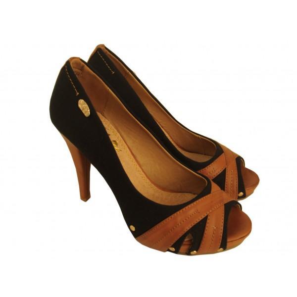 Peep Xti 40 592622 Salón Zapatos Toe Negro Foto Lona De Ygvf7y6b